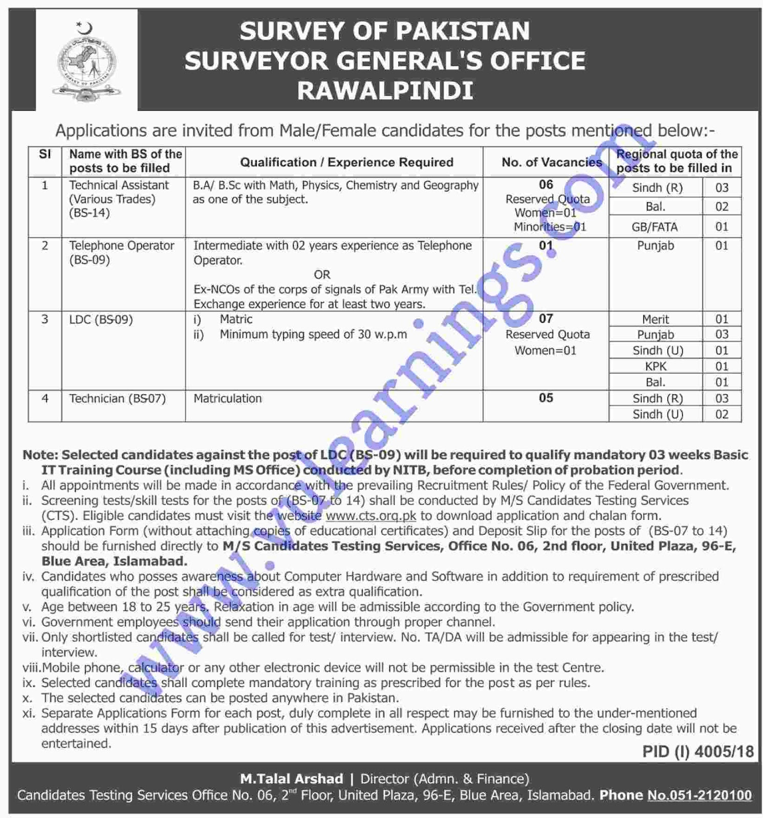 Job in Survey of Pakistan Surveyor