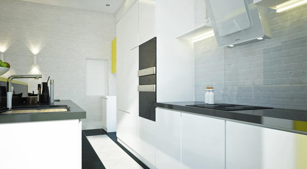 dapur yang memiliki backsplash kaca dengan bata putih