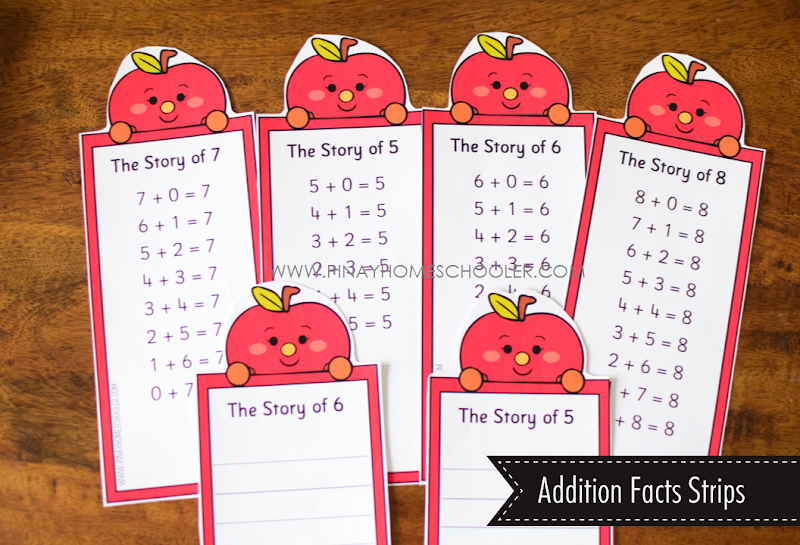 Addition Fact Strips/Worksheets - Apple Theme