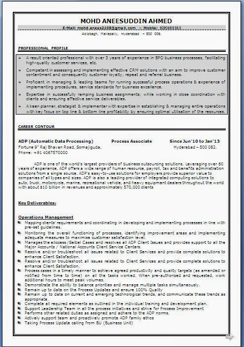 Bpo Resume Format For Experienced