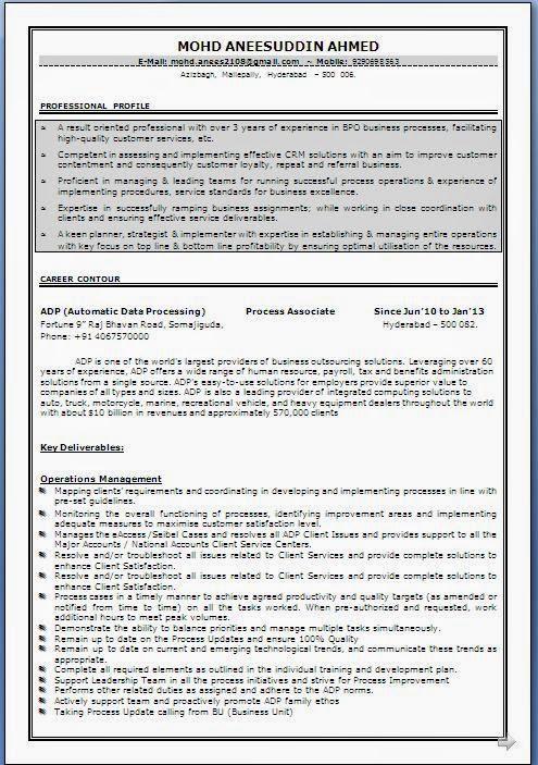 Bpo Resume Format For Experienced