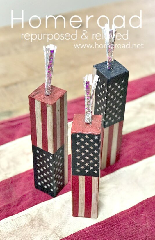 Antiqued Decoupaged Summer Firework Blocks with Sparkler Fuses