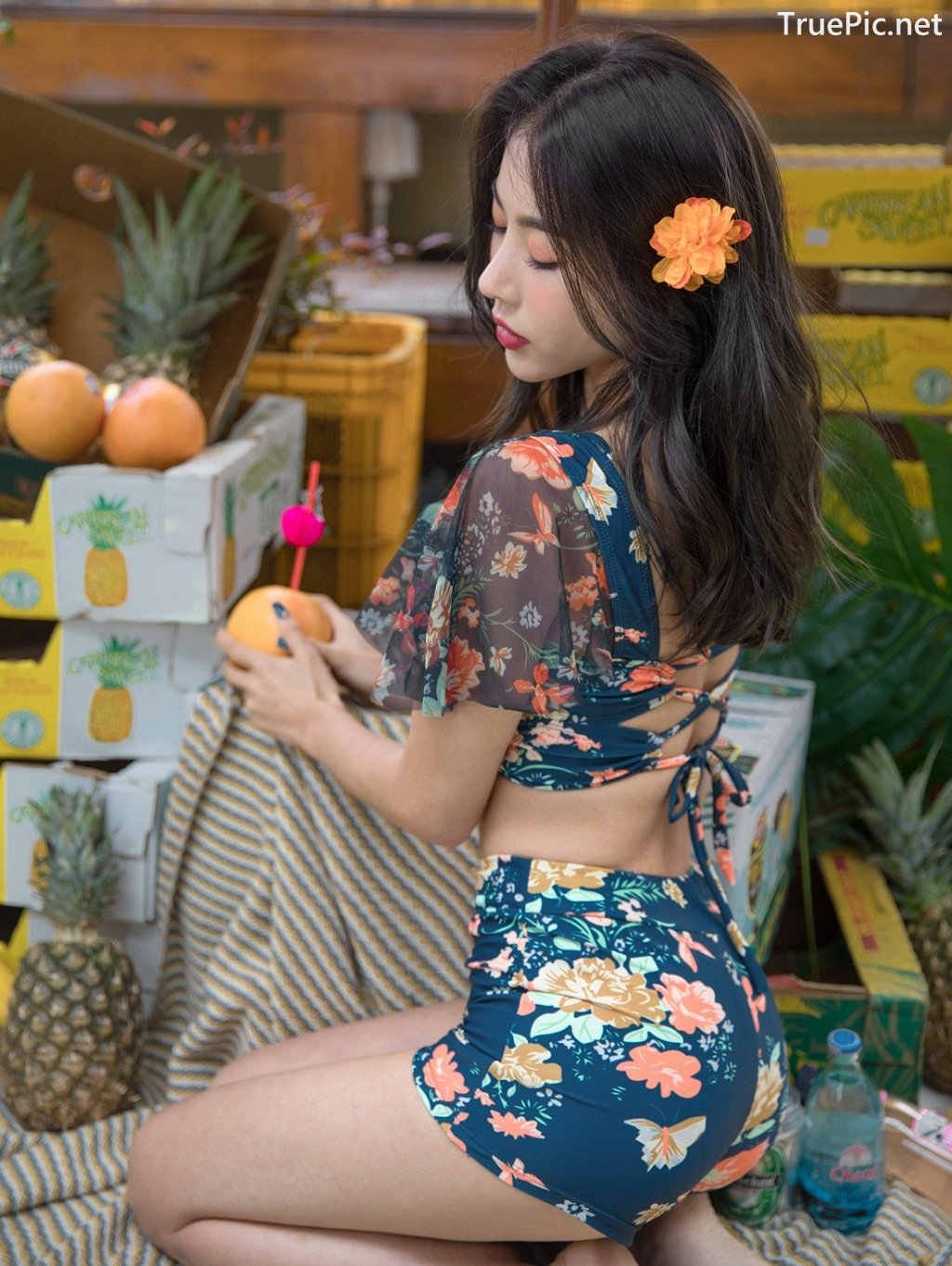 Image-An-Seo-Rin-Flower-and-Butterfly-Bikini-Korean-Model-Fashion-TruePic.net- Picture-1