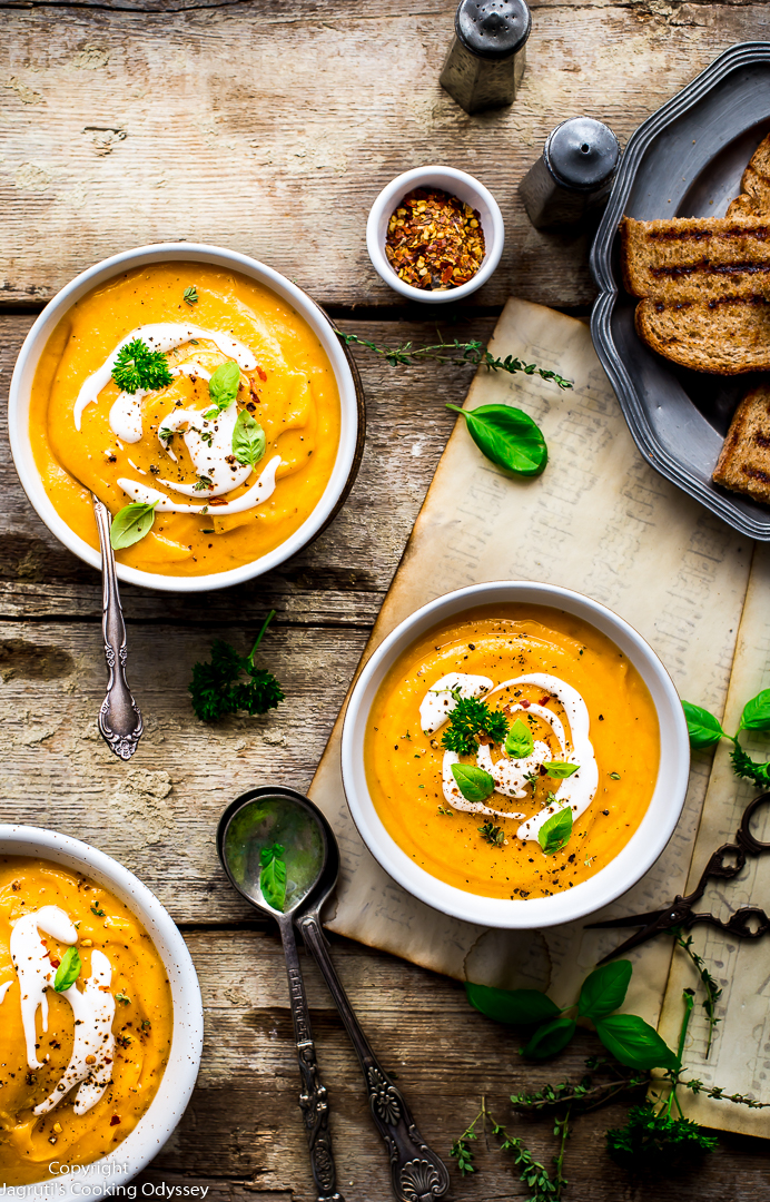 This creamy and mildly spiced soup is a powerhouse of goodness, can be enjoyed at lunch or dinner. This soup is a made of a simple combination of Butternut squash, Cannellini beans, vegetable stock, garlic, onion, coconut milk and Italian herb seasoning.