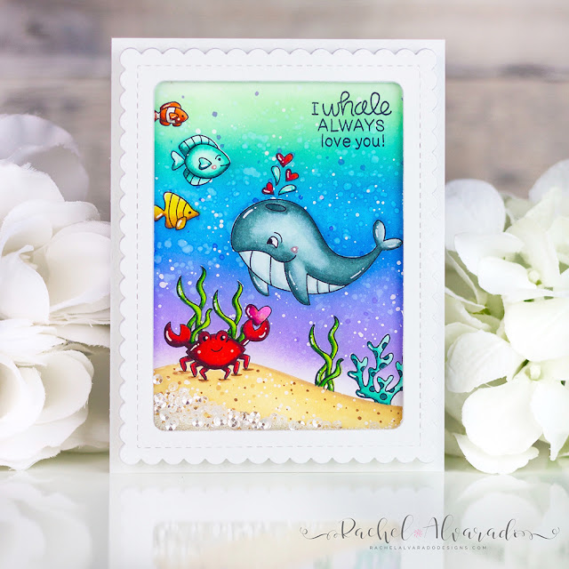 Whale Shaker Card by July Guest Designer Rachel Alvarado | Tides of Love Stamp Set, Hills & Grass Stencil and Frames & Flags Die Set by Newton's Nook Designs #newtonsnook #handmade