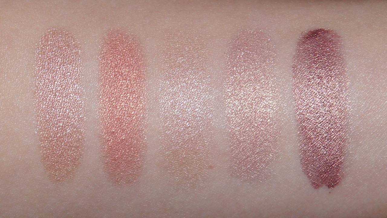 pink spring makeup mac all that glitters expensive pink naked lunch gleam swatches laura mercier metallic creme rose gold