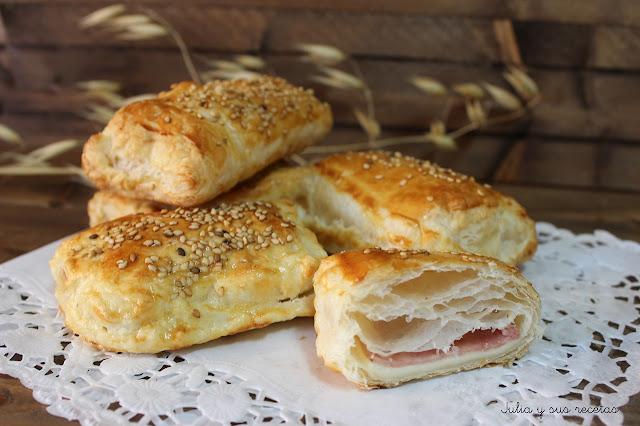 Hojaldre de jamón y queso . Julia y sus recetas