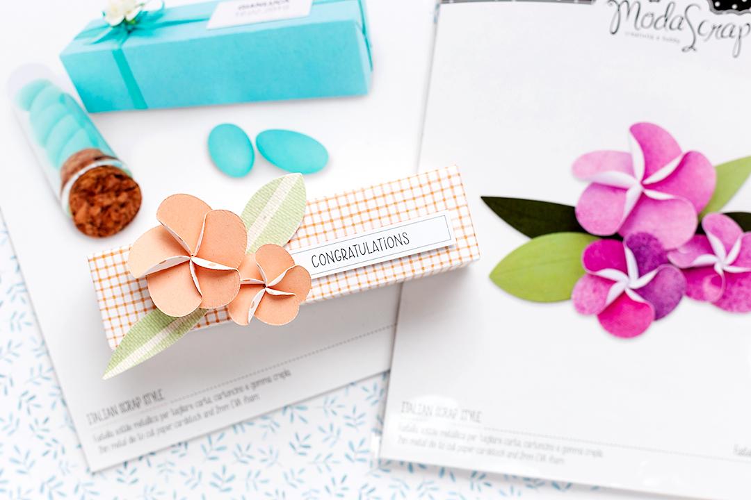 Delicate frangipane flower die on a treat box Moda Scrap Treat Holder Die Scrapbooking