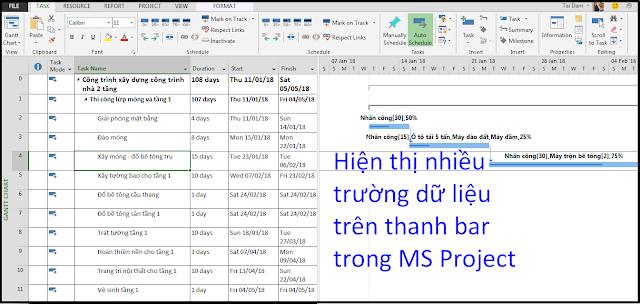 Hiện thị nhiều trường dữ liệu trên thanh bar trong MS Project