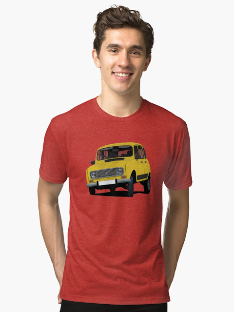 Yellow Renault 4 on a T-shirt