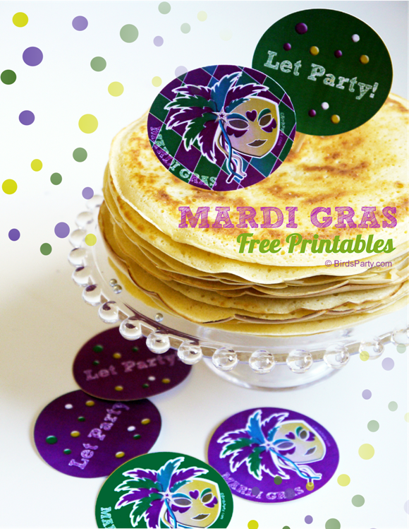 FREE Party Printables | Mardi Gras Party Tags - BirdsParty.com