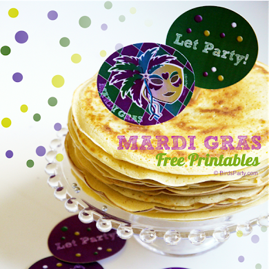 FREE Party Printables | Mardi Gras Party Tags