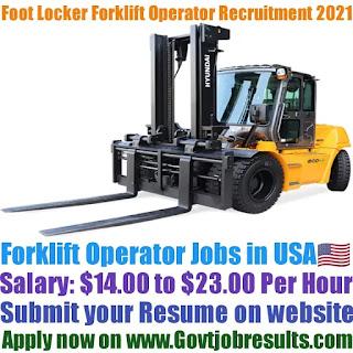 Foot Locker Forklift Operator Recruitment 2021-22