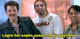 Lagta hai aapka pyaar mai gir gayi bhai, Anil Kapoor as Majnu Bhai | Best welcome movie meme templates & dialogue
