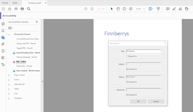 Screenshot of Adobe Acrobat Pro and the Description box where you can add a title.