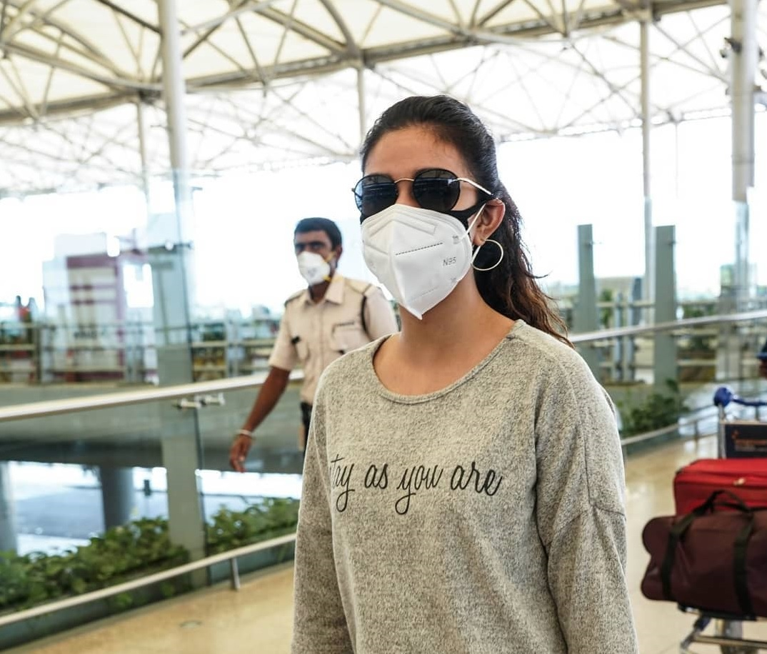 Keerthy Suresh in the Mask with Stunning Walk Style at Hyderabad Airport 3