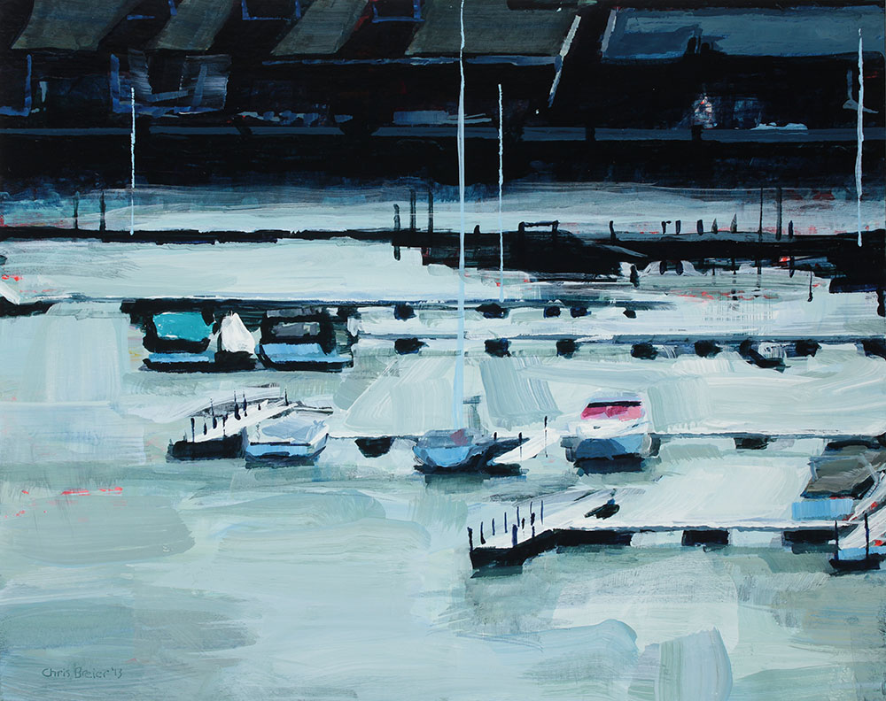 Acrylic painting of boats and the condos at Erie Basin Marina in Buffalo, NY.