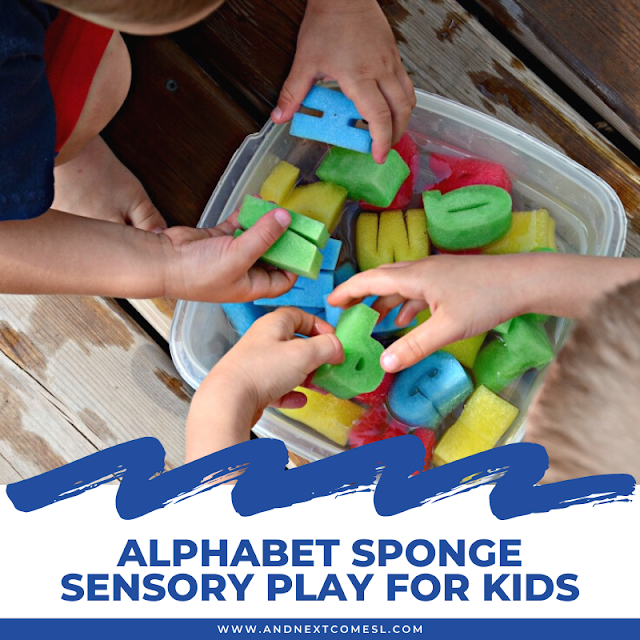 Sponge sensory play with letter sponges