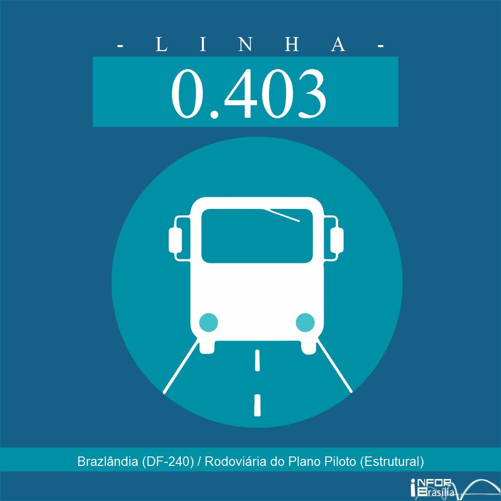 Horário de ônibus e itinerário 0.403 - Brazlândia (DF-240) / Rodoviária do Plano Piloto (Estrutural)