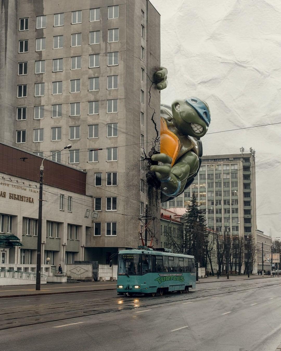 Tartaruga Ninja gigante conquista Minsk: Leonardo está explorando o mundo da arquitetura soviética em projeto de artista