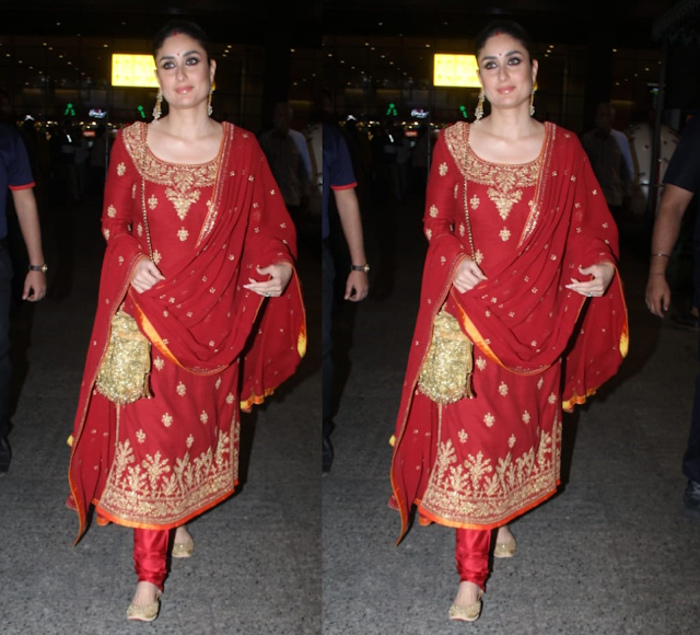 Kareena Kapoor in Raghavendra Rathod red suit