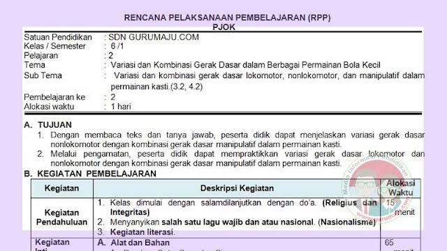 RPP PJOK 1 Lembar Semester 1 SD Kelas 6 Tema 2 K13 Revisi 2021
