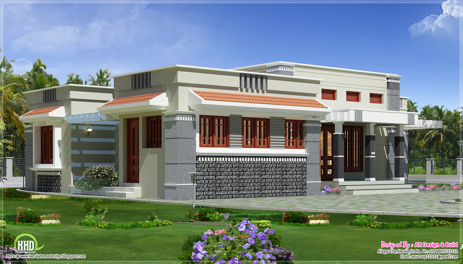 Single floor budget home design in 1300 kerala for Single floor house