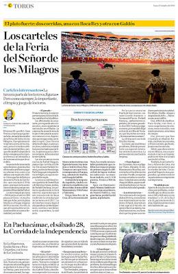 Diario El comercio, Lima, Peru Lunes 2018-07-23 Pagina Taurina