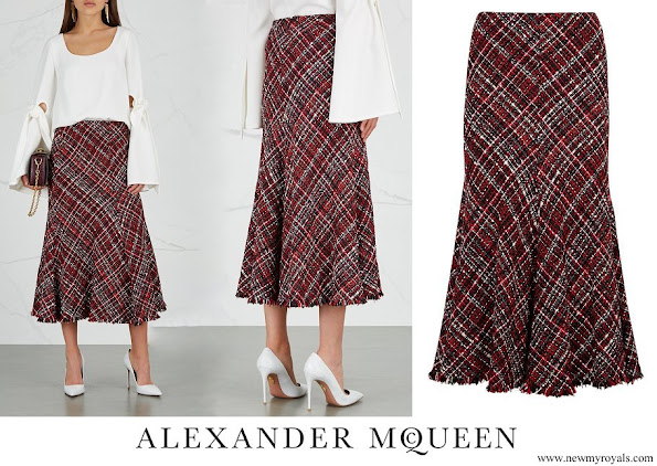 Crown Princess Mary wore ALEXANDER MCQUEEN High waisted boucle tweed midi skirt