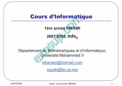 cours algorithmique I + language C smai s2 fsr rabat