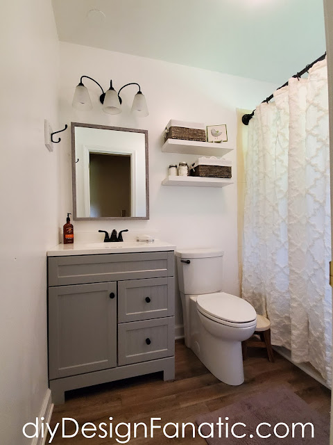 Lowe's Home Improvement, farmhouse bath, bathroom, bathroom makeover, cottage bath, mirror, vinyl plank flooring