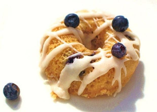 a single blueberry baked donut