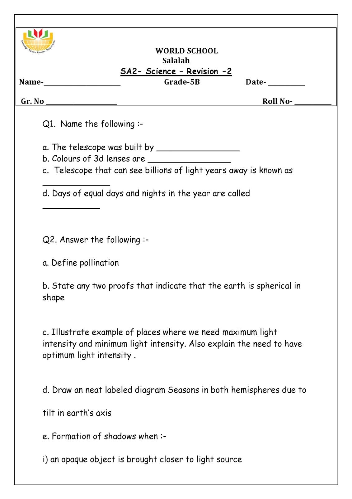 Birla World School Oman Homework For Grade 5 As On 16 04