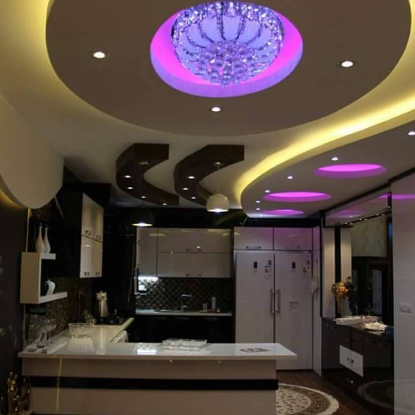 20 Pretty Cool Lighting Ideas For Contemporary Living Room: Kitchen Gypsum Ceiling Design For Unique Decoration