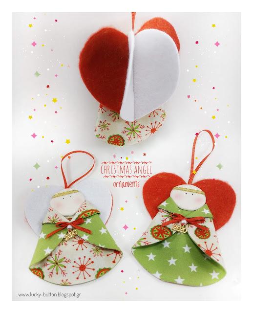 """""""little Christmas angel """" Χριστουγεννιάτικο αγγελάκι με τσόχινα φτερά υφασμάτινο στολίδι"""