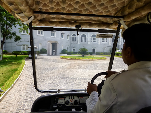Falaknuma Palace Images: the free golf cart to the palace