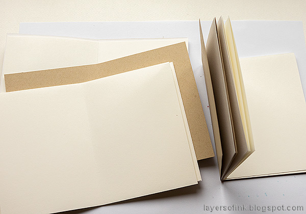 Layers of ink -  Outdoor Sketch Book Tutorial by Anna-Karin Evaldsson. Cut papers for inserts.