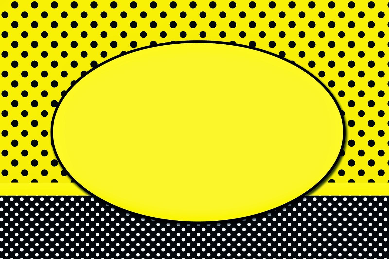 Amarillo con Lunares Negros: Invitaciones para Imprimir Gratis. | Oh ...