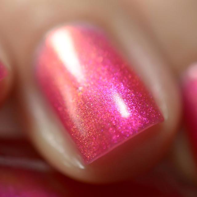 Hot pink nail polish with shimmer