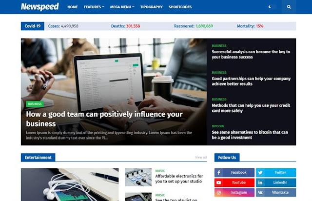 NewsSpeed Blogger Template For News Website