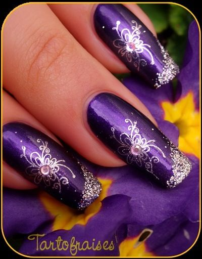 Wedding Nails in Purple Designs!