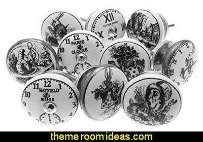 Alice in Wonderland - Clocks Black & White Ceramic Cupboard Knobs
