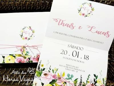 convite de casamento artesanal personalizado floral aquarelado delicado colorido candy color