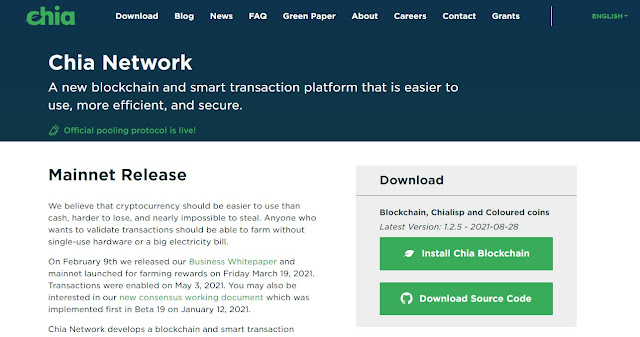 Screenshot Website Chia Network