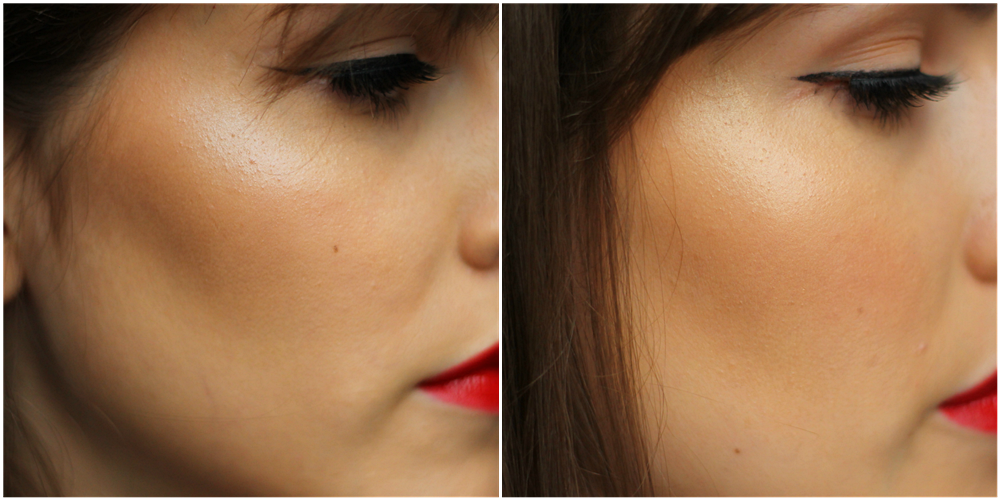 nars rivage swatch on face, nars crique swatch on face