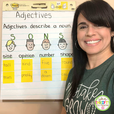 This adjectives anchor chart is a great visual to use when reviewing adjectives with upper elementary students.