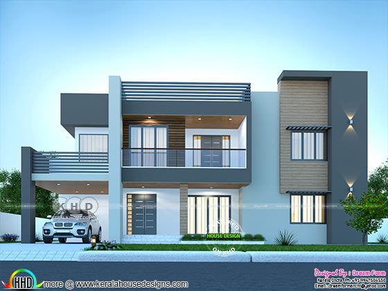 Front elevation of sober colored 4 bedroom house