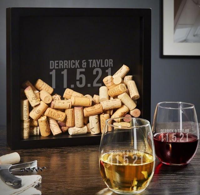 Custom Shadow Box and Wine Glass Set