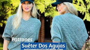Patrones de Suéter Asimétrico Dos Agujas
