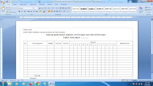 Contoh Daftar Kebutuhan Barang Inventaris dan Non Inventaris